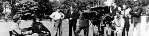 Maurice Elvey on location