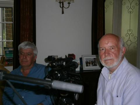 Interviewer Mike Dick and cameraman David Smith taken at interview recording with Pete Murray   10.05.16