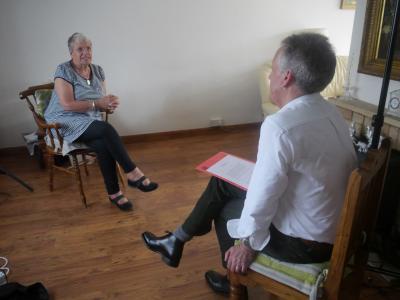 Linda Brown with interviewer Sean Holmes