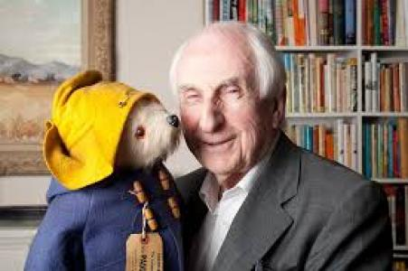 Michael Bond with Paddington Bear